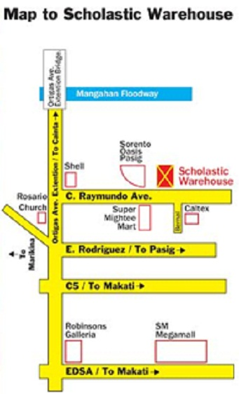 Map to scholastic warehouse