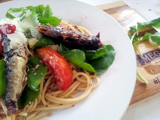 Tomato Aurgula and Sardine Pasta