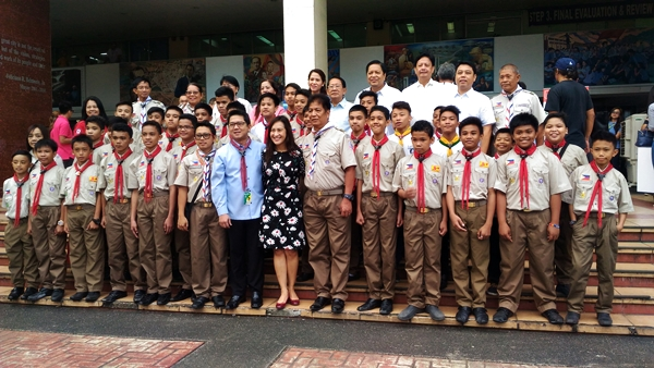 Mayor Herbert Bauitista, Vice Mayor Joy Belmonte and the Boy Scouts of the Philippines