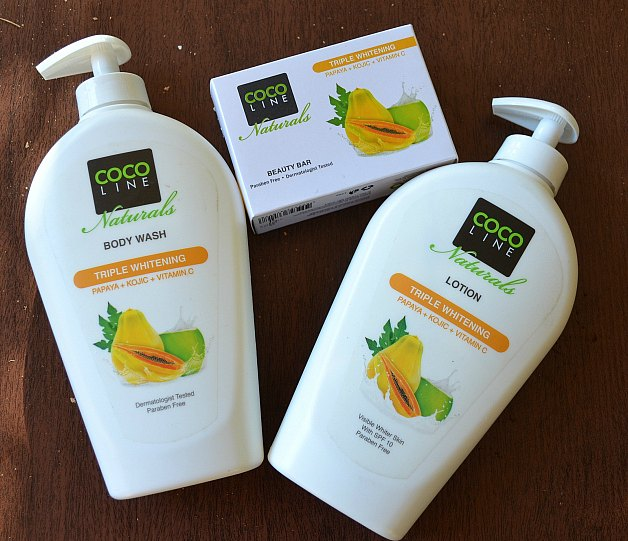 Cocoline Naturals Papaya Triple Whitening Body Wash and Body Lotion and Body Bar