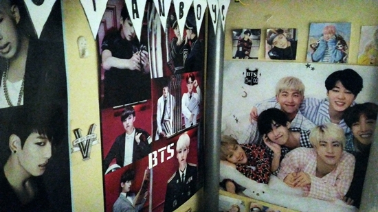 BTS bunting and posters in bed