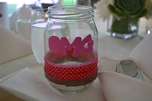 My simple DIY decorated mason jar I designed for my youngest who likes glittery pink.
