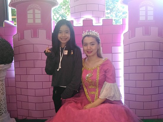 Mariel, our princess, with Max's Restaurant princess in pink.