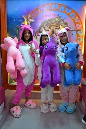 Will keep this precious photo with my girls wearing our unicorn onesies. I was almost tempted to buy our costumes and bring them home. Please note, the cute slippers twinkle too!
