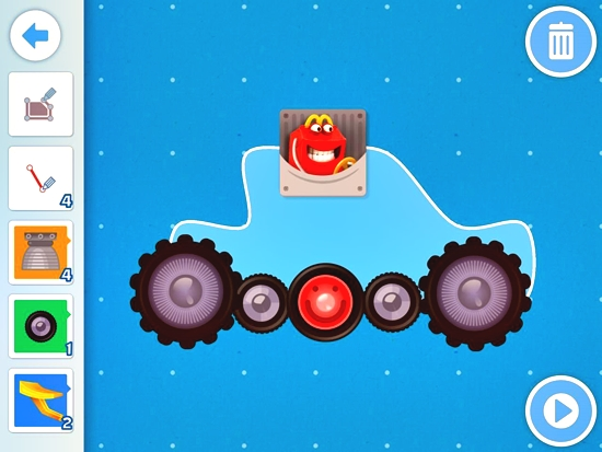Happy Studio app lets you be Be an inventor. In this activity, there's a challenge where you need to build a car of your own design which should be able run and jump off a gap on a cliff.