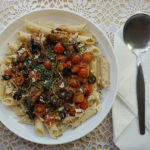 Sardine Pasta With Spinach, Black Olives & Cherry Tomatoes